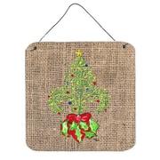 Caroline's Treasures Christmas Tree Fleur De Lis Aluminum Hanging Painting Print Plaque