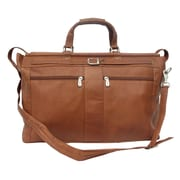 Piel Traveler 19'' Leather Travel Duffel with Pockets; Saddle