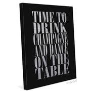 Click Wall Art Time To Drink Champagne Textual Art on Wrapped Canvas in Silver