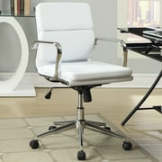 Wildon Home   Mid-Back Leather Office Chair with Arms; White