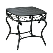 International Caravan Valencia Wicker Resin Patio Side Table; Black Antique