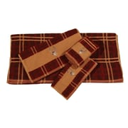 HiEnd Accents Deer Embroidered Plaid 3 Piece Towel Set