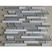 Mulia Tile Parallel Random Sized Marble and Glass Mosaic Tile in Grey and Cream