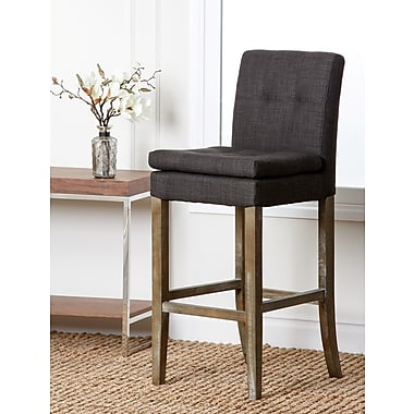 Abbyson Living Laura 30'' Bar Stool with Cushion; Grey