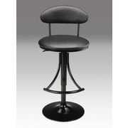 Creative Images International Adjustable Height Swivel Bar Stool with Cushion; Black-Red