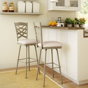 Amisco Nest 27.63'' Swivel Bar Stool; Matte Light Grey/Beige