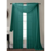 Window Elements Diamond Curtain Sheer Single Panel Scarf; Grey Teal