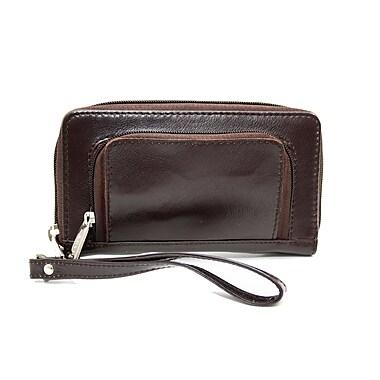 Ashlin Genuine Leather Women's Smartphone Wallet, Dark Brown