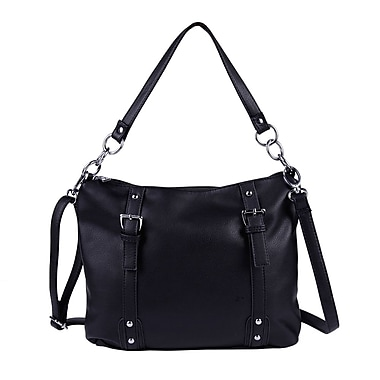 Club Rochelier Shoulder Bag with Buckle Detail, Black