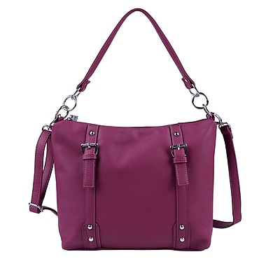 Club Rochelier Shoulder Bag with Buckle Detail, Berry