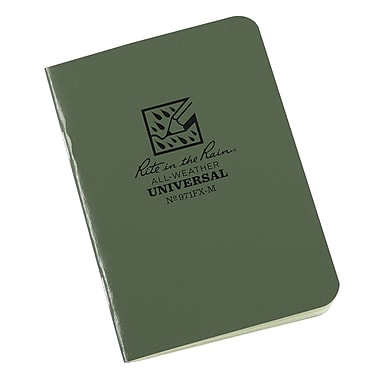 Rite in the Rain #971FX-M All-Weather Mini-Stapled Notebook, Universal Page Pattern , 3-1/4