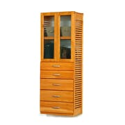 John Louis Home 16'' Deep Standalone Tower with Door and 5 Drawers; Honey Maple