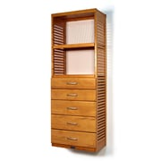 John Louis Home 16'' Deep Standalone Tower with 5 Drawers; Honey Maple