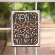 Glory Haus Happiness Begins with A Grateful Textual Art on Canvas