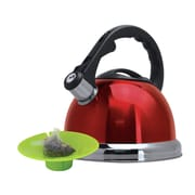 Primula Safe-T 3-qt. Whistling Tea Kettle with Tea Bag Buddy; Red