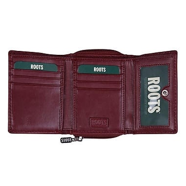 Roots Trifold Wallet w/Zip Around Change Pocket, Red
