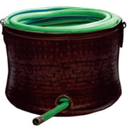 Deeco Copper Plated Steel Hose Storage Pot; Brown Laquer