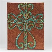 Glory Haus Bronze Texture with Cross Graphic Art on Canvas