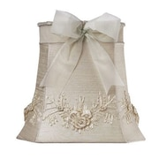 Jubilee Collection 10'' Floral Bouquet Dupioni Silk Square Lamp Shade; Ivory