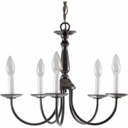 Volume Lighting 5 Light Candle Chandelier; Antique Bronze