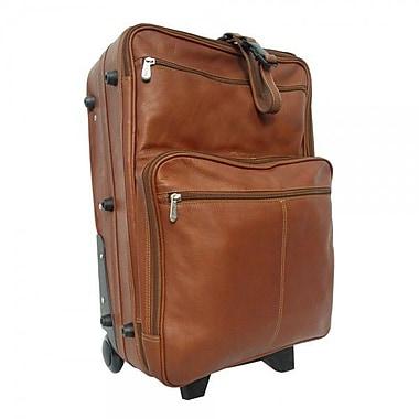 Piel Pastel Leather Collection 22'' Wheeled Traveler Suitcase; Saddle
