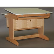SMIProducts PD Series Computer Desk w/Keyboard Tray and Desktop CPU Cabinet; Natural Oak (Standard)