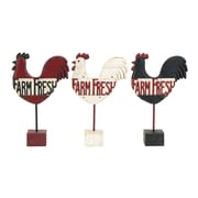 Woodland Imports Farm Fresh Kitchen Rooster Garden Signs (Set of 3)
