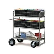 Charnstrom Long Triple Decker File Cart with Basket; Air Casters / Tires