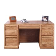 Forest Designs Executive Desk w/ 3 Right & 3 Left Drawers; Black Adler