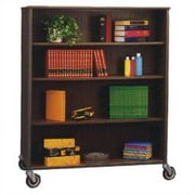 Fleetwood Library Double Sided 72'' Bookcase; Grey Nebula/Black
