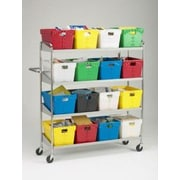 Charnstrom Extra Long 4 Shelf Mobile 16 Bin Utility Cart