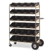 Charnstrom Super Capacity Movable Bin Utility Cart with Shelves