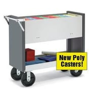 Charnstrom Long File Cart with Poly Casters and Locking Top