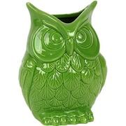 Woodland Imports Beautiful and Spectacular Ceramic Owl Vase; Green