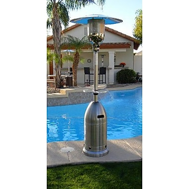 AZ Patio Heaters Tall Tapered Propane Patio Heater w/ Table; Stainless Steel