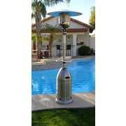 AZ Patio Heaters Tall Tapered Propane Patio Heater with Table; Stainless Steel