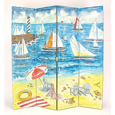 Wayborn 64'' x 72'' Boat Watching on the Beach 4 Panel Room Divider