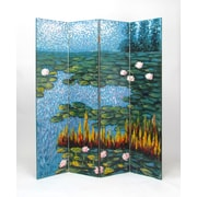 Wayborn 72'' x 64'' Lily Pads in a Pond 4 Panel Room Divider