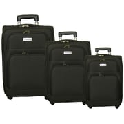 McBrine Luggage 3 Piece Spinner Luggage Set III; Black