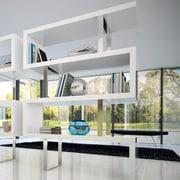Modloft Pearl 66'' Accent shelves Bookcase; White Lacquer