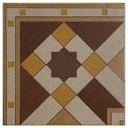 EliteTile Cementa 7'' x 7'' Ceramic Glazed Tile in Geo Esquina