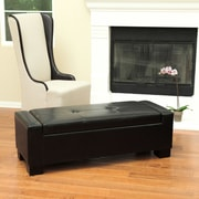 Home Loft Concepts Eastport Leather Storage Ottoman; Black