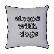 Creative Co-Op Sayings ''Sleeps With Dogs'' Linen Throw Pillow