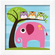 Art Nancy Lee 'Elephant with Three Owls' 14 x 14 (9371150)