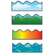 """Carson-Dellosa 156' x 2.25"""" Scalloped Variety Border Set I, Clouds, Grass, Rainbow, and Ocean Waves 144028"""