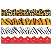 "Carson-Dellosa 144029 156' x 2.25"" Scalloped Variety Border Set II, Leopard, Tiger, Zebra, and Red Bandana Print"