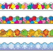 "Carson-Dellosa 156' x 2.25"" Scalloped Variety Border Set III, Snowflake, Colored Leaves, Smiley Faces, and Colorful Stars 144030"