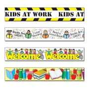 "Carson-Dellosa 144034 144' x 3"" School Border Set, Welcome Kids, Reading: Kid Drawn, Kids at Work, and Apples & Books"