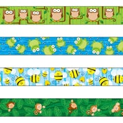 "Carson-Dellosa 144548 144' x 3"" Variety Straight Border Set, Woodland Owls, Frogs, Bees, and Monkeys"