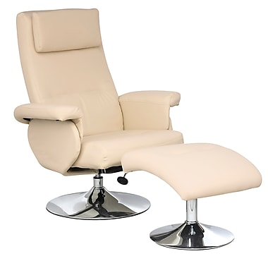 CorLiving LYT-321-C Yalaha Leatherette Reclining Lounge Chair with Curved Ottoman, Ivory Cream